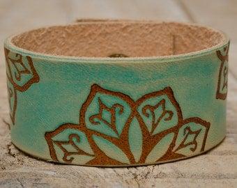 Turquoise Leather Cuff Bracelet, Wrist Bracelet, Wristband