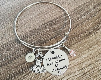 Dance bracelet / Ballet hand stamped charm bangle bracelet / Dance like no one is watching / tutu charm / personalized / Dance jewelry gift