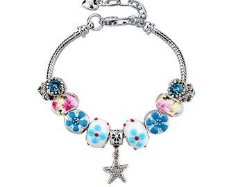 Swiss Zirconia Pandora Inspired Charm Bracelet