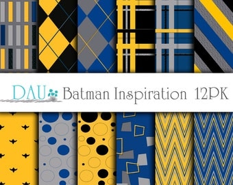 12 Pack Batman Digital Paper Blue Yellow Grey Pattern Variety 12 x 12 300Dpi Party Themes Card Designs Scrapbooks Invitations Gift Packaging