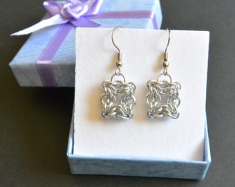 Chainmail Celtic Square Earrings
