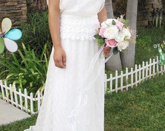 White handmade Grecian dress, Lace white handmade dress