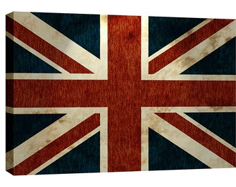 British Flag Canvas Wall Art Grit Gritty Grunge Union Jack Vintage