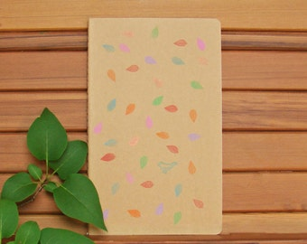 Moleskine Cahier Journal-Kraft - Hand-Stamped Design - Falling Leaves and One Lone Blue Bird