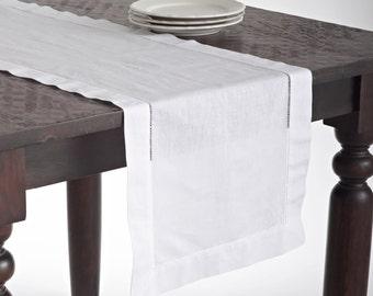 Handmade Table Runner Basic Hemstitch Table Runner Home Decor Two Colors Runner Table Decor Table Linen Table Runner Linen-Cotton Runner