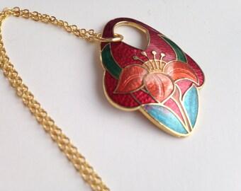 Cloisonne pendant necklace, red cloisonne pendant necklace, cloisonné necklace, cloisonné pendants, vintage cloisonné jewelry, red, N38