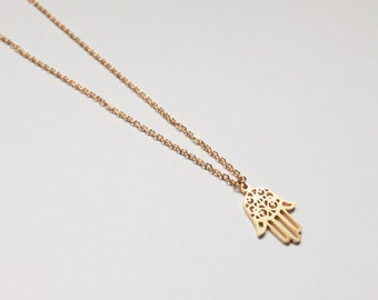 Gold Necklace, Fatima hand necklace, Fatima hand, minimaist jewelry, necklace, silver, layer necklace, choker, pendant, hamsa necklace