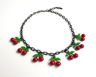 Classic Cherry Charm Necklace by DeLuxe Accessories