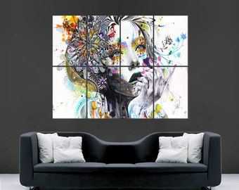 flower girl abstract poster trippy wall art image large wall poster picture Beautiful