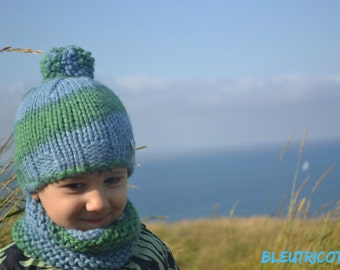 Blue and green alpaca snood for child, 100 % baby alpaca, neck warmer knitted, child 2-3 years, natural dyeing, handmade