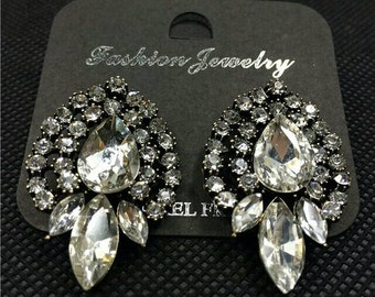 transparent crystal earrings white floral statement free shipping