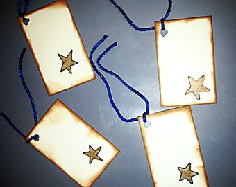 Primitive Grubby Handmade Star Gift Tags