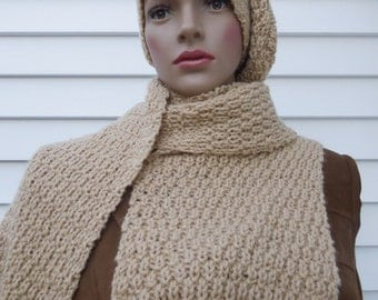 This is Hat and Scarf set,Knit Scarf,Neck Warmer,for Winter,Hand made Scarf,Chrismas Gift Womens Scarf