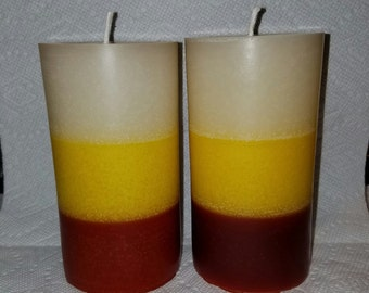 Candy Corn Pillar Candle, Halloween Candle, Cany Corn Scented Pillar Candle, Halloween Decor