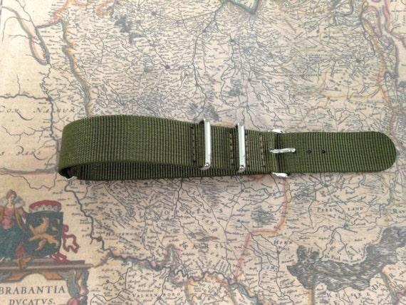 Nato Watch Strap / Nato Watch Band 20mm, Nylon, Army Green