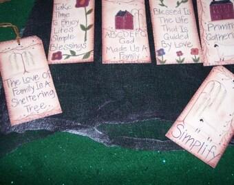 Large Primitive Folk Art Stitching Vintage hang tags / Gift Tags