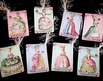 Set of EIGHT Vintage French Marie Antoinette Let Them Eat Cake Hang Tags / Gift Tags