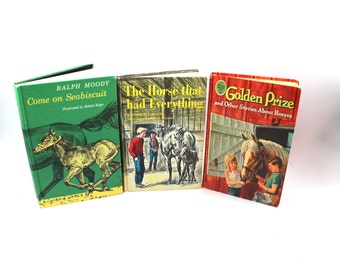 "Three vintage horse books: ""Come on Seabiscuit"" ""The Horse That Had Everything"" ""Golden Prize"" - illustrated stories, ponies, hardcover"