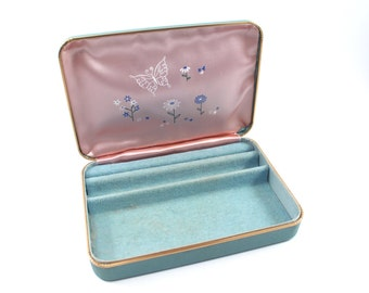 Blue jewelry box by Farrington - vintage, vinyl leatherette, blue velvet and pink satin interior, flowers and butterflies, 1960s or 1970s