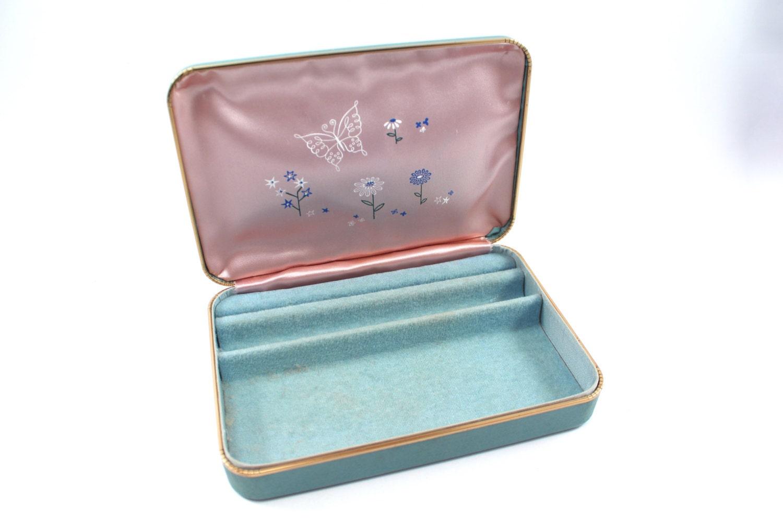 blue jewelry box by farrington vintage vinyl leatherette