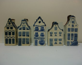 Miniature Liquor Decanter or Bottle - Rynbendes - Five Dutch Canal Houses #5, 9, 3, 13, 17