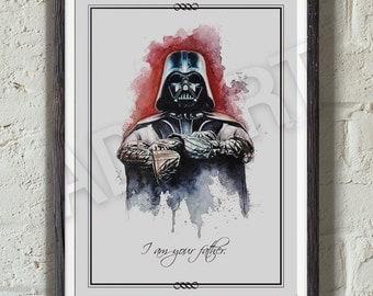 Darth Vader of Star Wars illustration limited edition watercolor copy