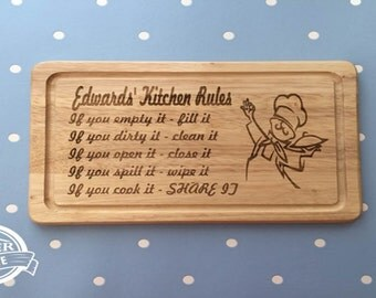 Personalised Kitchen Rules Chopping Board Ideal as a Gift for any Occasion