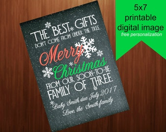 digital download, printable, Chalkboard , Christmas pregnancy announcement, 5x7 family of three , sign, card, Christmas Card