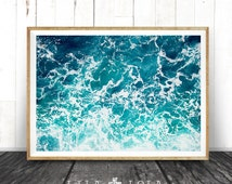Ocean Water Wall Art Print, Ocean Water Waves, Beach Coastal Decor, Colour Photography, Printable Instant Digital Download, Modern Beach Art