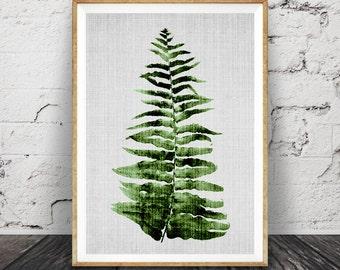Fern Leaf Print, Large Printable Poster, Modern Minimal, Botanical Wall Art, Digital Download, Tropical Decor, Green Plant Leaves