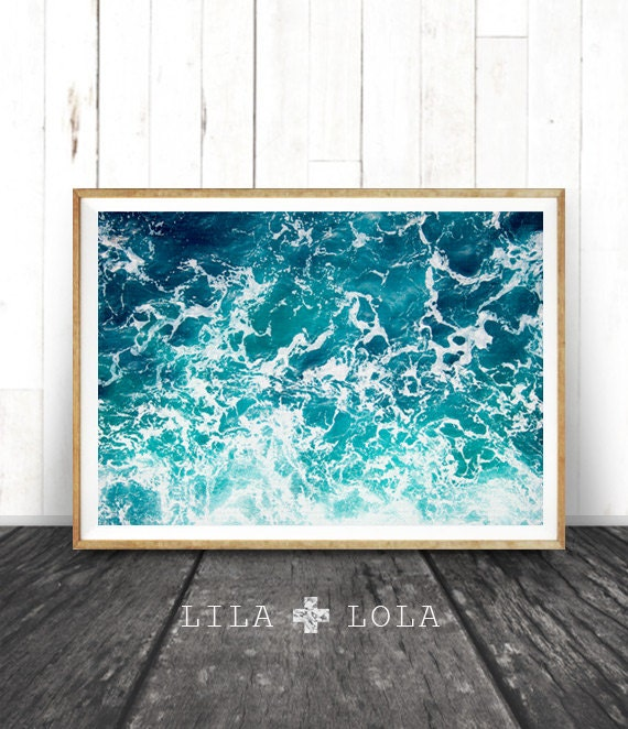 Beach Ocean Wall Decor : Ocean water wall art print waves beach by