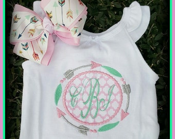 Monogramed Onsie encircled with arrows,Applique,Personalized
