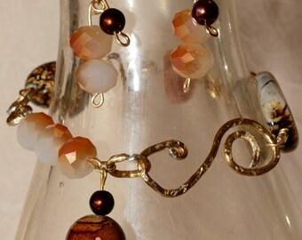 Handmade Beaded Bracelet w/ matching earrings