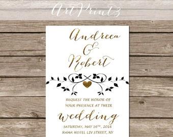 Modern Wedding Invitation Printable, Gold Wedding Invitation, Printable Wedding Invitation
