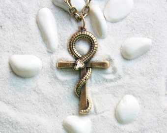 Snake Cross Ankh Pendant Egyptian Jewelry Key of Nile Key of Life Crux Ansata : Bronze Handmade Pendant with chain
