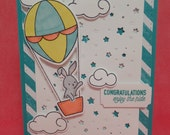 Hand Stamped and Hand Colored Congratulations Card Enjoy the Ride - Stampin' Up