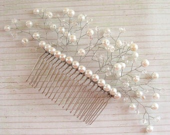 White pearl comb White crystal hair comb Bridal hair accessories Silver hair comb White crystal headpiece Bridal hair comb Crystal comb