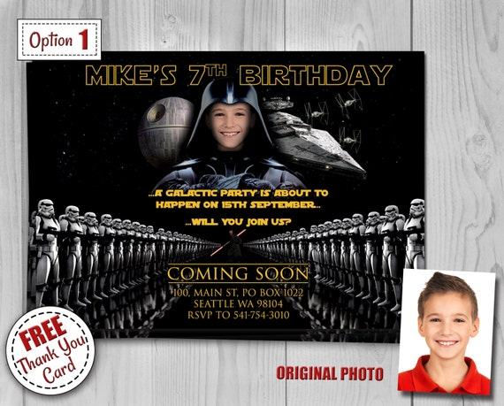 Star Wars Birthday Invitation with photo - Darth Vader, Kylo Ren, Stormtrooper - Digital Birthday Party Invitations by Printadorable