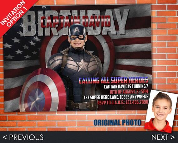 Captain America Birthday Invitation, Civil War Invite - Party Set of Invitation, Address Label, Favor Tag & Bottle Label - Printadorable