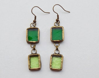 Stained Glass Earing, Tropic Green, Brass, Brass Hook