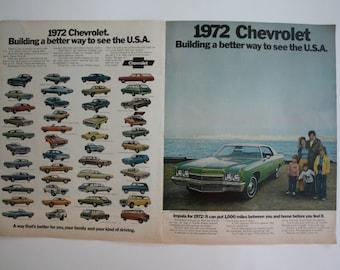 Vintage 1972 Life Magazine Print Ad 1 Sheet Centerfold Chevrolet #18