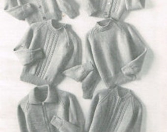 Classic Cardigans and Sweaters for Boys, Girls - Vintage knitting pattern for Children - 70's 60's PDF download - Kids