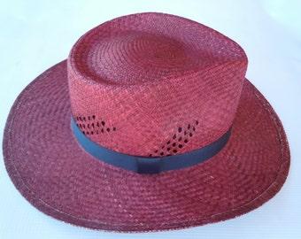 Merlot Straw Hat, Summer Straw Hat, Sun Hat, Panama Hat, Hand-Woven Hat, Honduras Hat, Chapeau en paille, Sombrero de junco