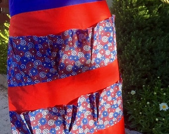 Red white and blue stars egg apron