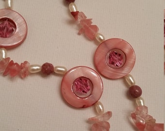 Rose Quartz and Swarovski Crystal and Pearl Necklace