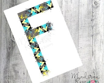 Geometrical wall art blue grey and yellow initial F watercolour, graphic art, illustration, print, poster