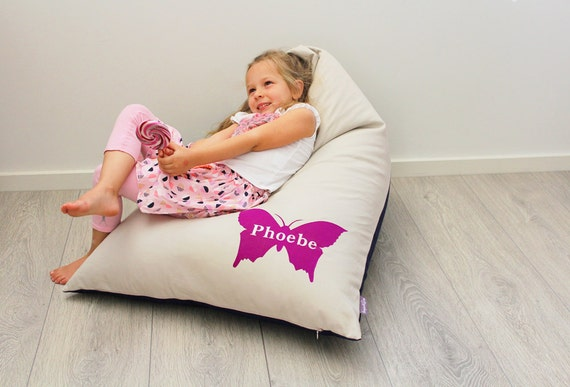 Personalised Kids Bean Bag with Purple Butterfly, girls bean bag, girls chair, childs bean bag, kids furniture, kids cushion personalized
