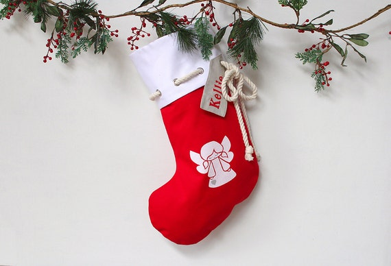 Personalised Christmas Stocking in red with Angel,Christmas Decor, Santa Stocking, Christmas Decoration,