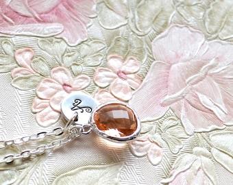Peach bridesmaid necklace Personalized bridesmaid jewelry Peach Bridesmaid gift Best Friend necklace Wedding jewelry Crystal necklace