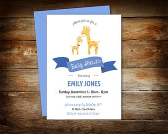 Giraffe Baby Shower - Giraffe Shower Invitation - Baby Shower Invitation - Giraffe and Baby - Instant Download - 0044-B